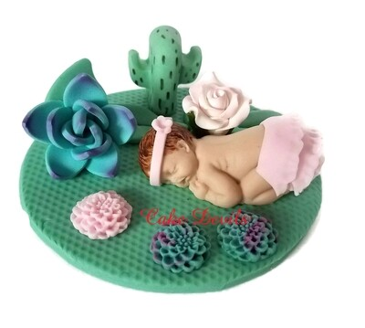 Fondant Cactus Rose and Succulent Baby Shower Cake Topper, Sleeping baby Cake Decorations, Rustic Desert Rose Garden