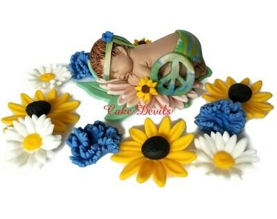 Flower Child Fondant Baby Shower Cake Topper