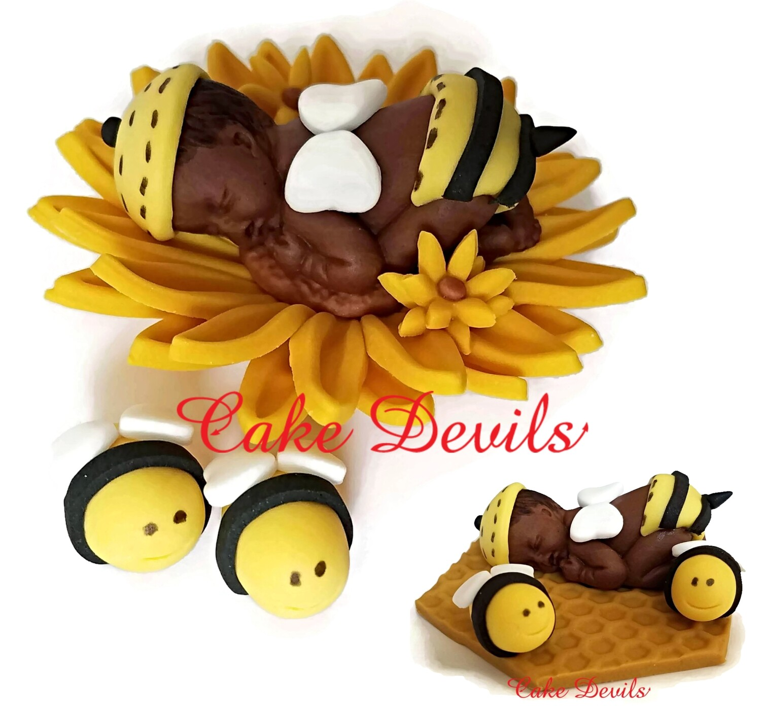 Bumble Bee Fondant Baby Shower Cake Topper
