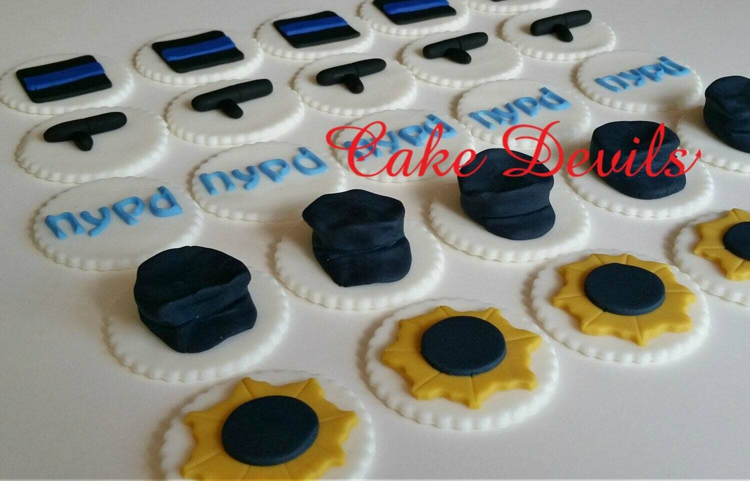 Police Officer Fondant Cupcake Toppers Decorations