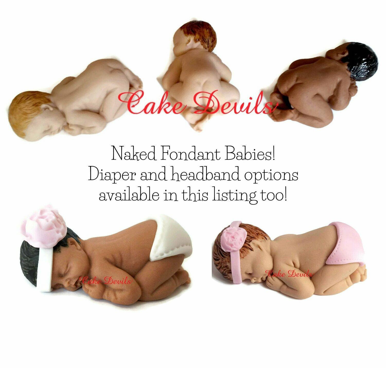 Naked Sleeping Baby Fondant Cake Topper, Handmade Baby Shower Cake Topper