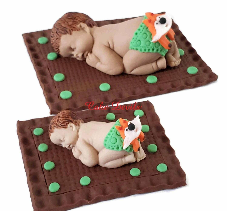 Fondant Fox Face Diaper Baby Shower Cake Topper