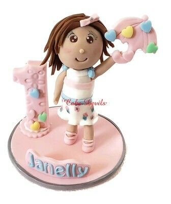 Fondant Little Girl Birthday Cake, First Birthday Cake Topper, Handmade Fondant Girl with Umbrella, Showerered with Love Birthday Party