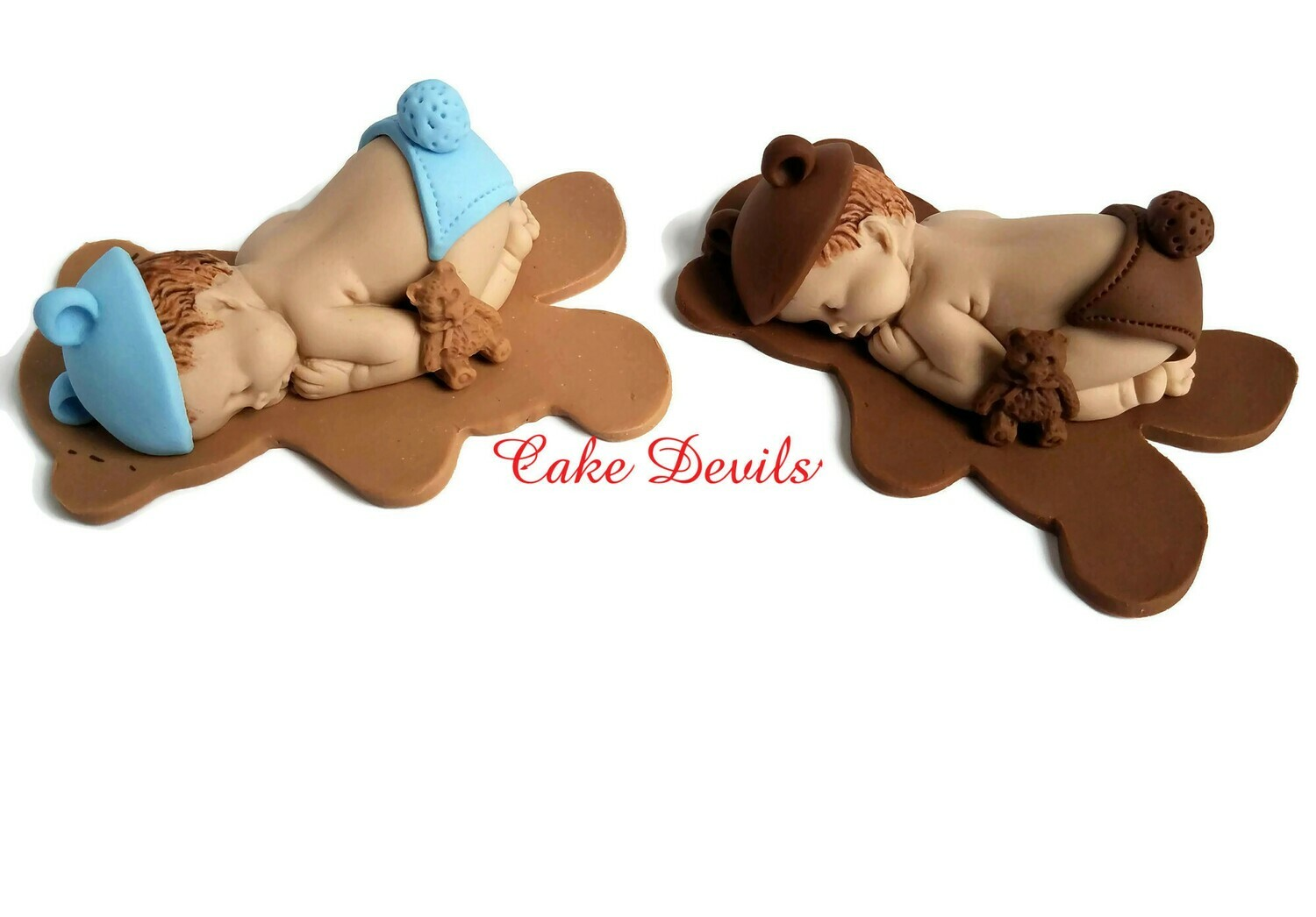 Fondant Teddy Bear Baby Shower Cake Topper