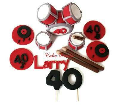 Fondant Drum Set Cake Topper