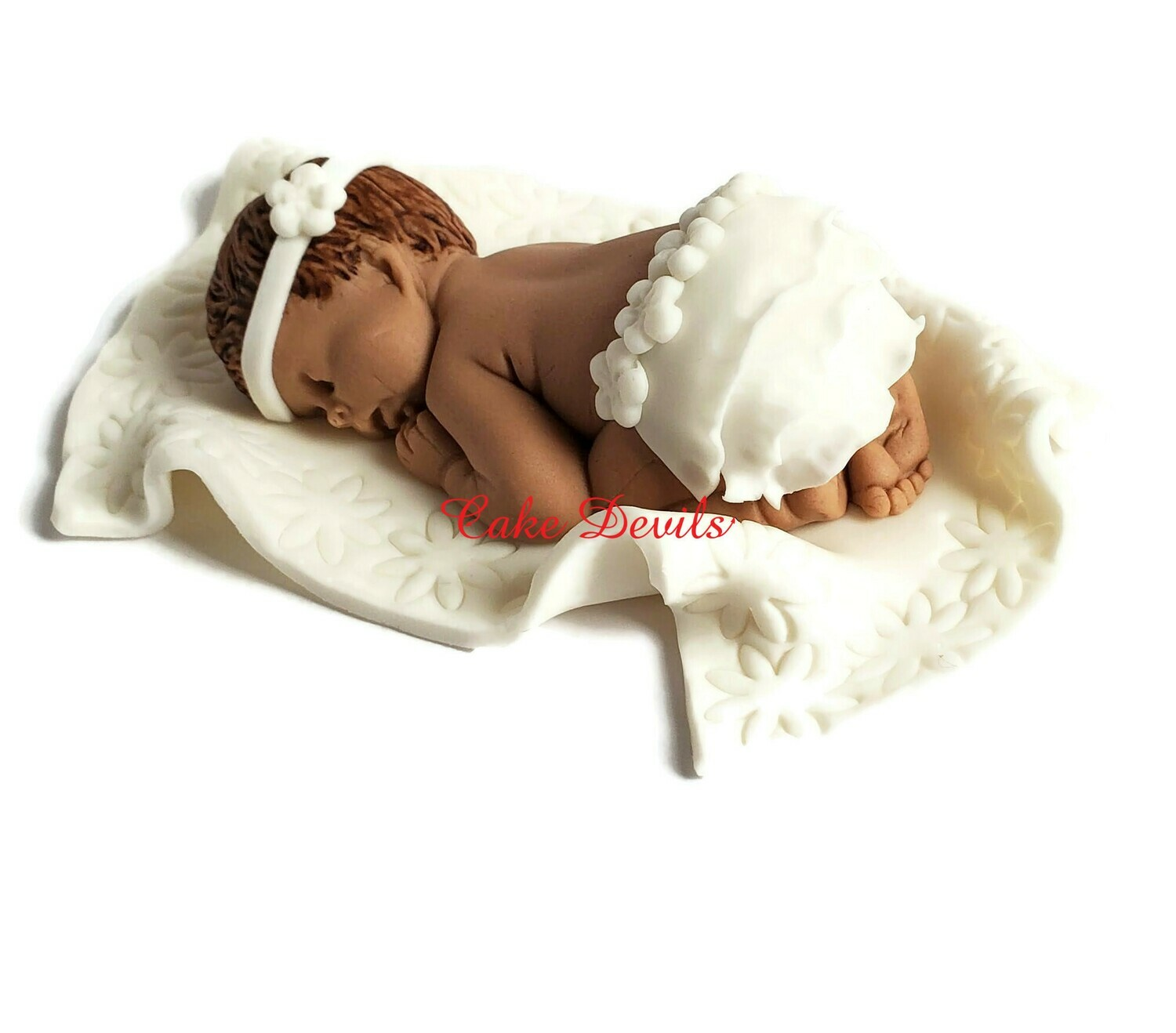 Fondant Baby girl with ruffled diaper skirt for baptism, christening or baby shower cake topper and matching Fondant Booties