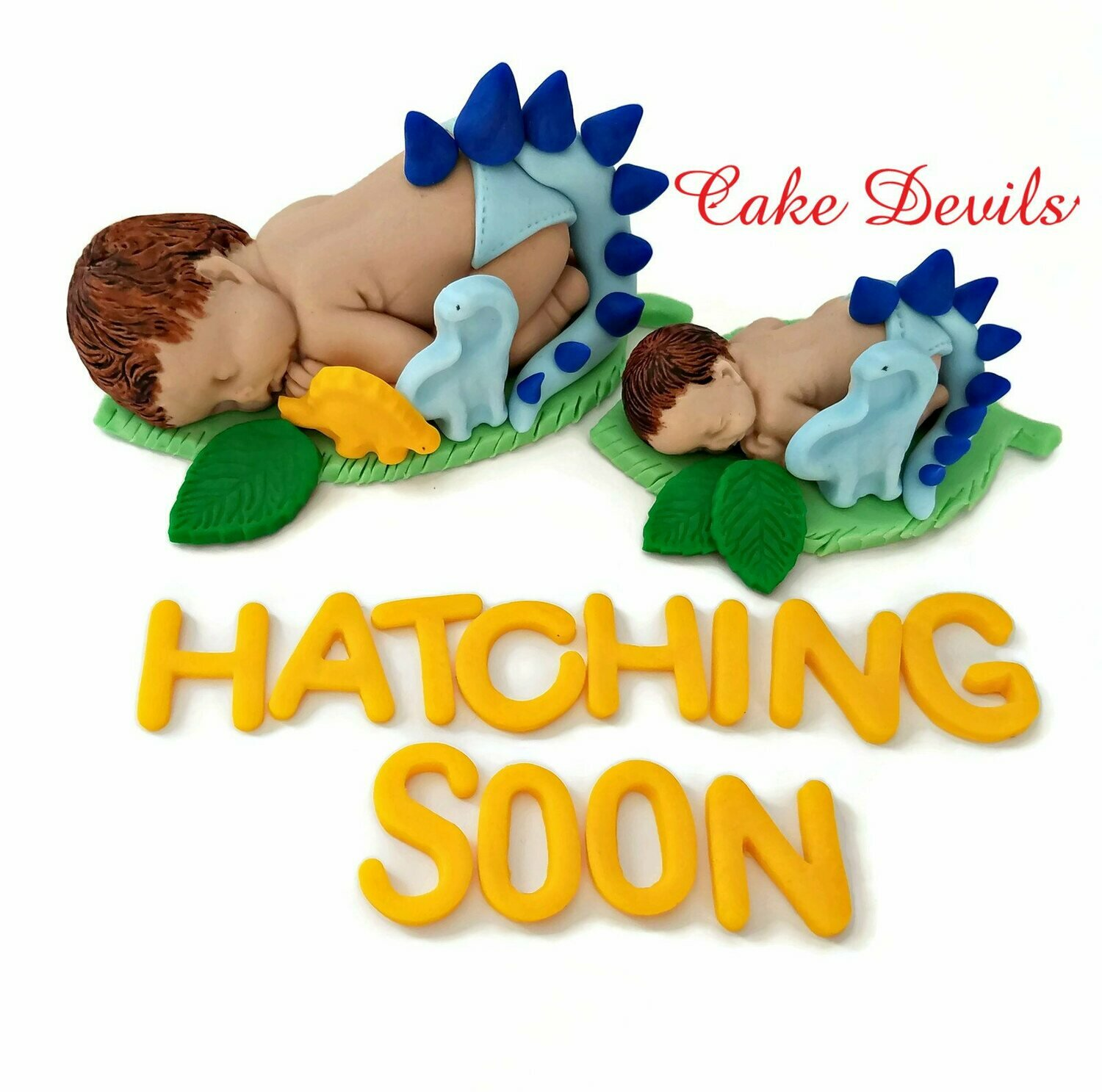 Dinosaur Baby Shower Cake Topper or a Fondant Sleeping baby in a Dinosaur Outfit
