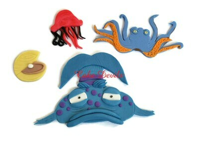 Pout Pout Fish fondant Cake Toppers perfect for an Ocean Life Birthday Cake