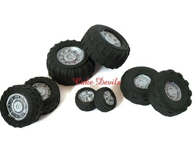 Fondant Tire Cake Decorations, Edible Tires for Cake and Cupcake Toppers