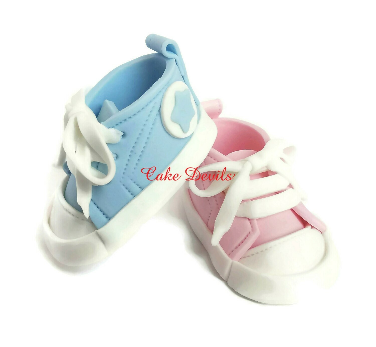 Gender Reveal Fondant Baby Sneakers Cake Toppers, Bright Pink and Royal Blue, or Baby Pink and Baby Blue