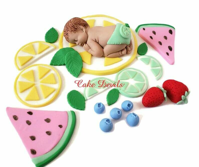 Tutti Frutti Baby Shower Fondant Cake Toppers with Lemon, Lime, watermelon, strawberries, blueberries