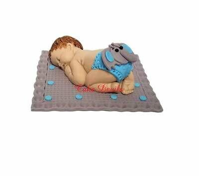 Fondant Elephant Diaper Sleeping Baby Shower Cake Topper