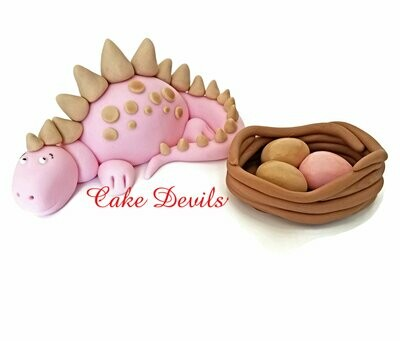 Fondant Dinosaur Cake Topper with nest of Dinosaur Eggs,