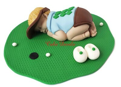 Golf Baby Shower Cake Topper, Fondant Sleeping Baby Cake Decorations, Hole in one baby shower theme