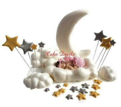 Fondant Moon, Stars, and Clouds with Sleeping Baby Shower Cake Decorations perfect for a Twinkle, Twinkle Little Star Cake
