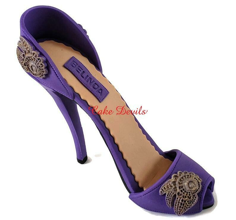 High Heel Cake Topper, Fondant Stiletto with lace embroidery