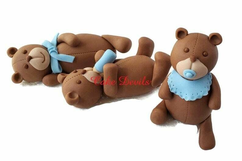 Fondant Baby Teddy Bear Cake Toppers, Baby Shower Cake Decorations, Handmade Fondant Bears