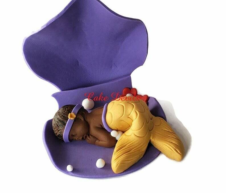 Mermaid Baby Shower Fondant Cake Topper