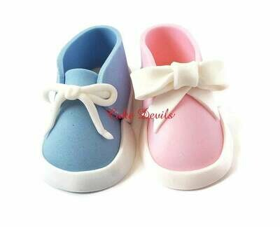 Gender Reveal Fondant Baby Shoes Cake Topper