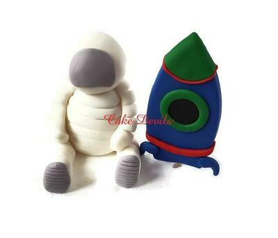 Fondant Astronaut and Rocket Ship Cake Toppers for Space Explorer Cake