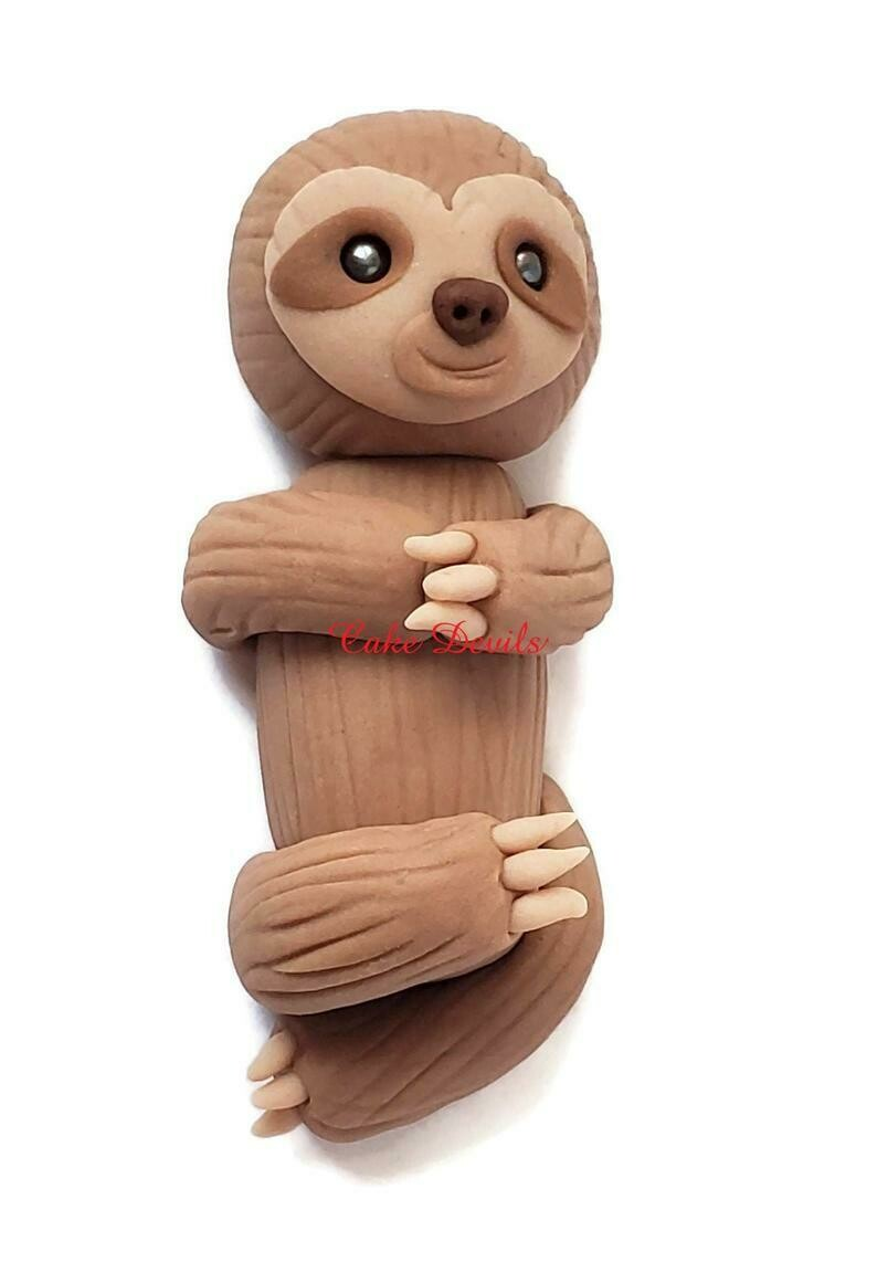 Fondant Baby Sloth Cake Topper, Handmade little Sloth laying down Cake Decoration