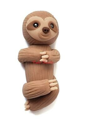 Fondant Baby Sloth Cake Topper, Handmade little Sloth laying down Cake Decoration