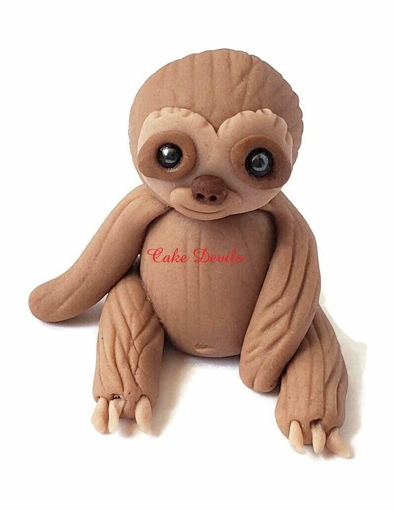 Fondant Baby Sloth Cake Topper, Handmade little Sloth sitting up Cake Decoration