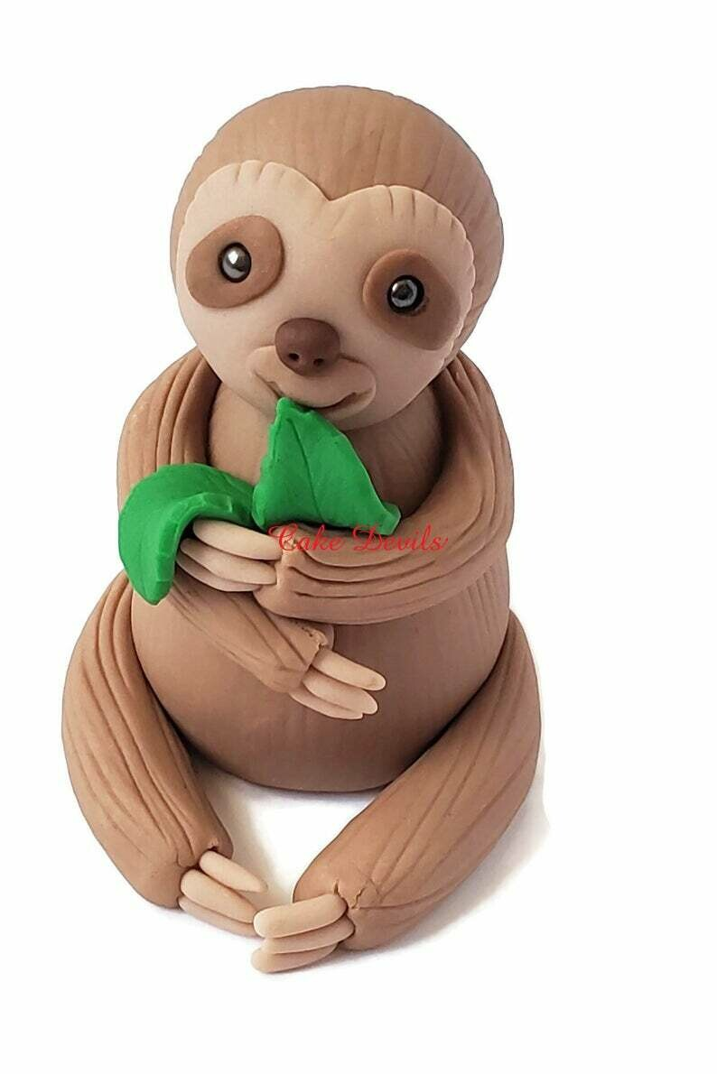 Fondant Sloth Cake Topper eating leaves, Handmade Sloth Cake Decorations