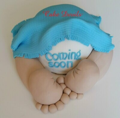 Baby Butt Baby Shower Cake Topper, Handmade of Fondant