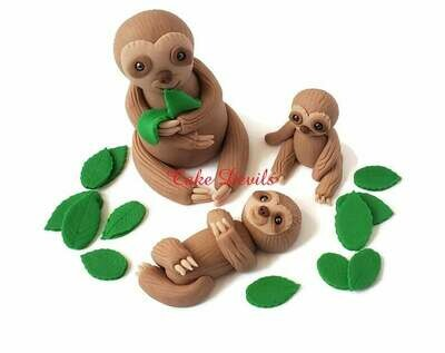 Fondant Sloth Cake Toppers, Handmade mommy and baby Sloth Cake Decorations