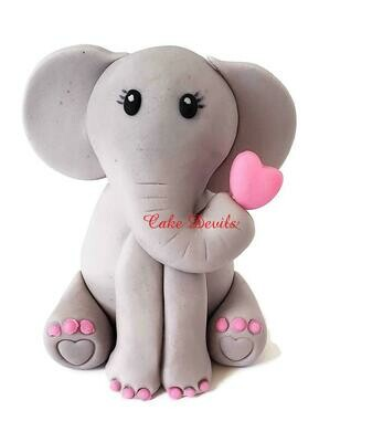 Fondant Elephant Cake Topper with Heart in trunk