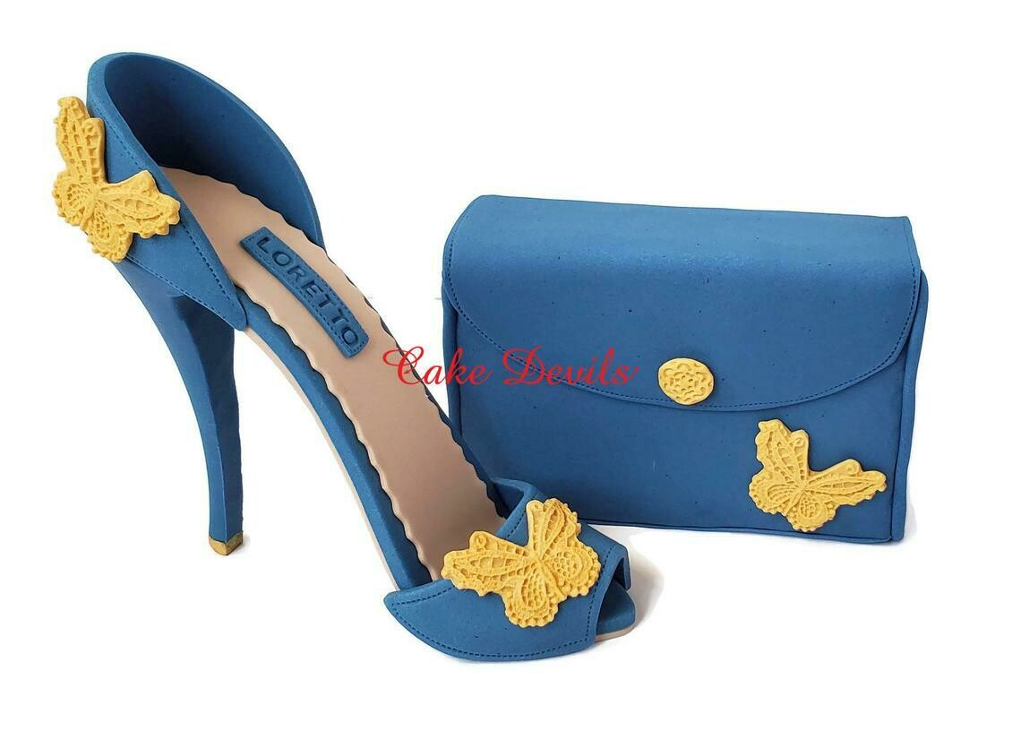 Fondant Butterfly High Heel Cake Topper with matching Clutch Purse