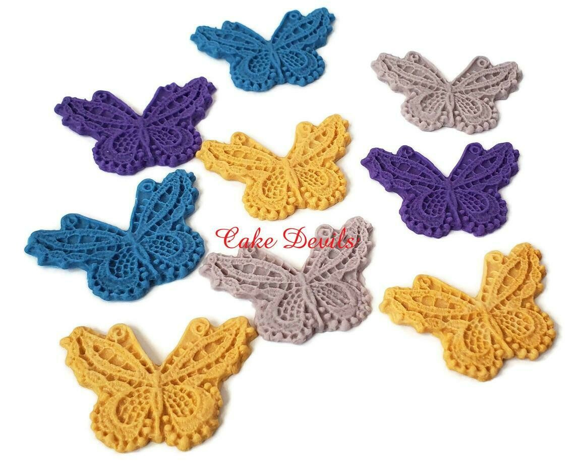 Fondant Lace Butterfly Cake Toppers