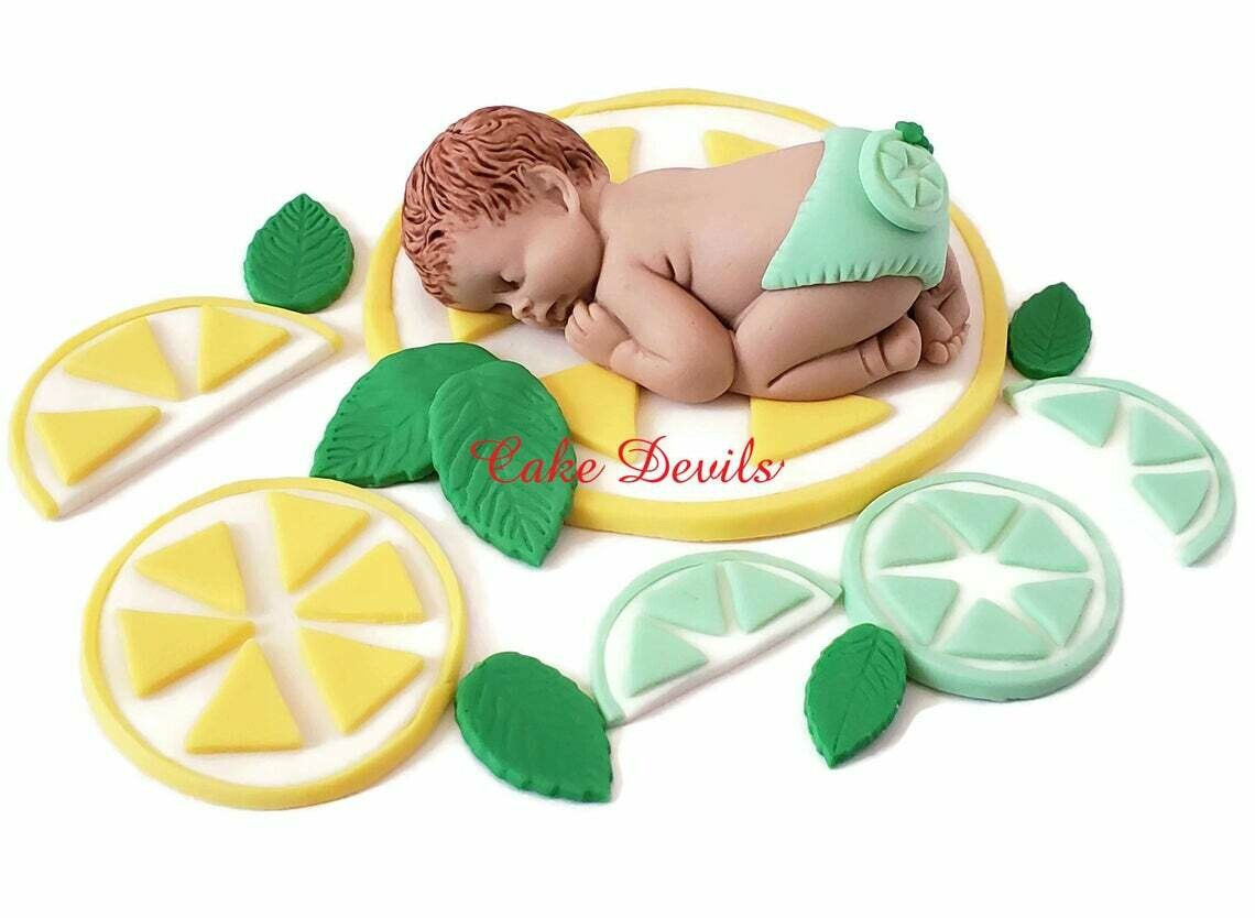 Lemon Lime Baby Shower Fondant Cake Topper