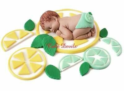 Lemon Lime Baby Shower Fondant Cake Topper