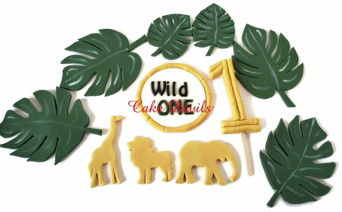 Fondant Gold Jungle Safari Animals and Monstera Leaves First Birthday Cake Toppers