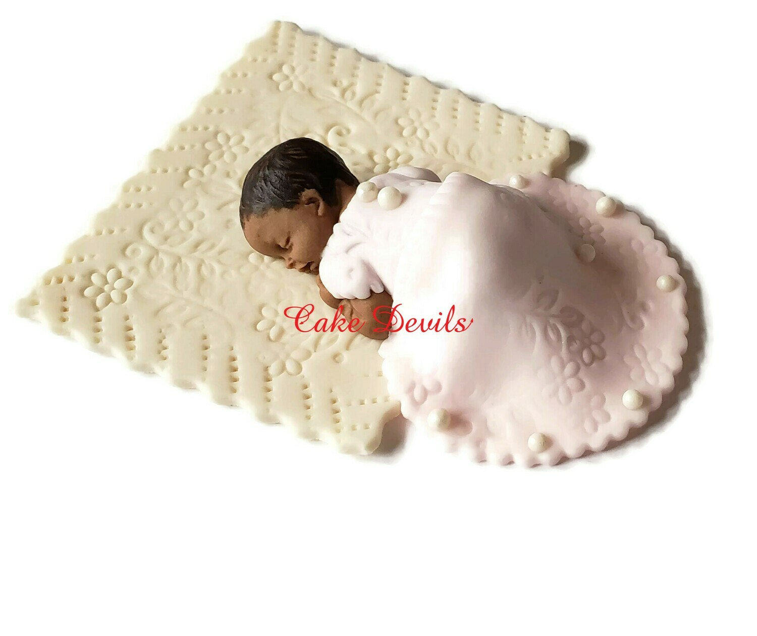 Fondant baby girl in dress Cake Topper perfect for a Baptism or Christening