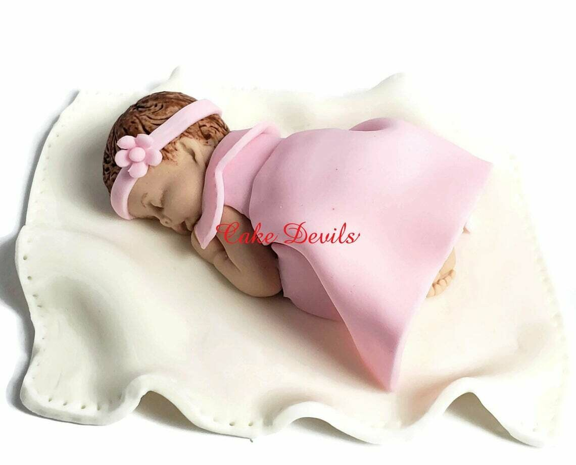 Fondant baby girl Baby Shower Cake Topper