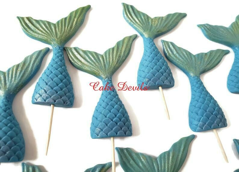 Mermaid Tails Fondant Cupcake Toppers