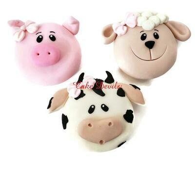 Fondant Farm Animal Faces of a Pig, Cow, Lamb / Sheep