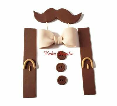 Fondant Little Man Cake Toppers with Mustache, Bow tie, and Suspenders