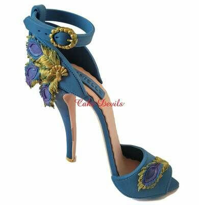 Peacock High Heel Shoe Cake Topper