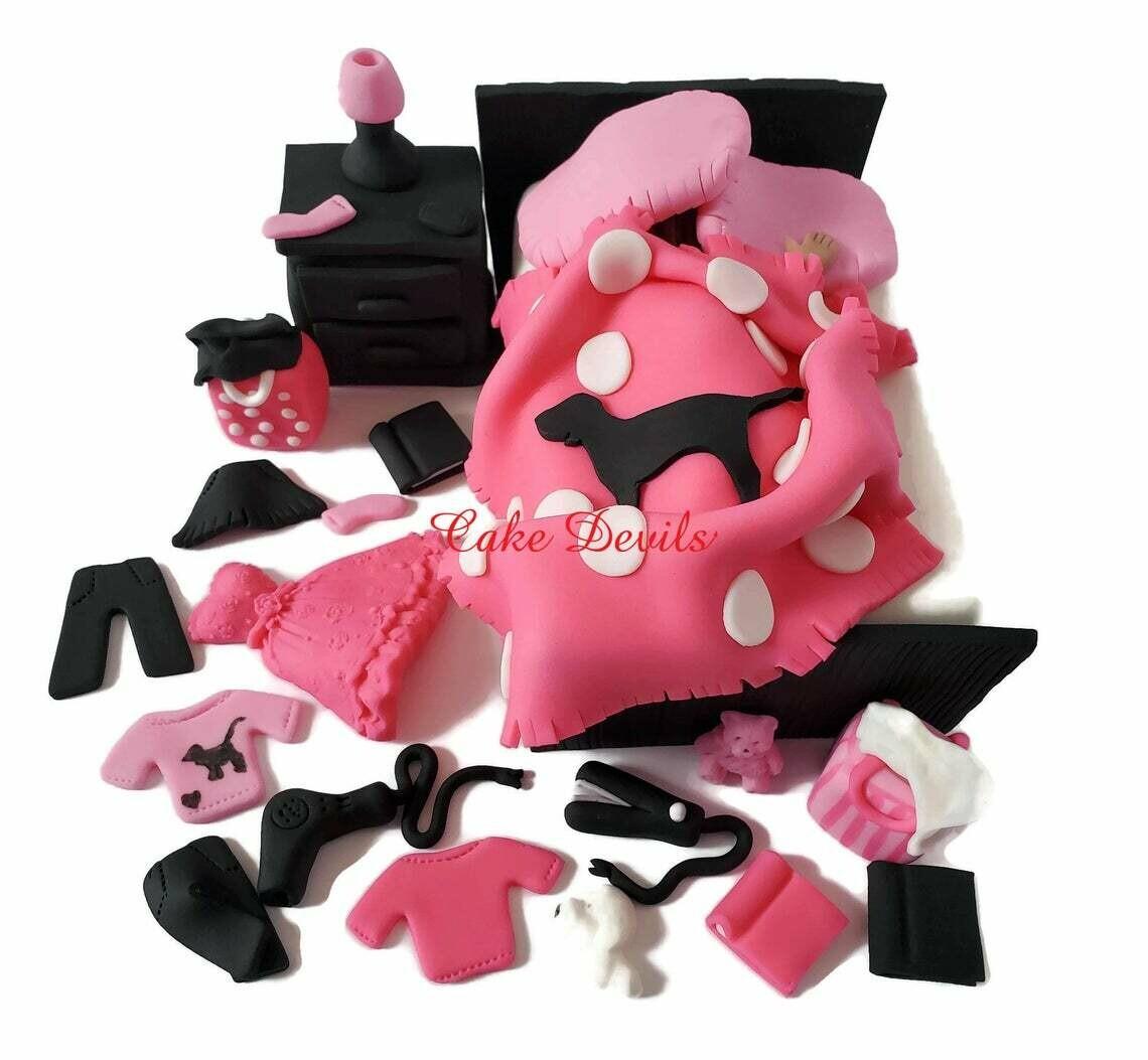 Messy Bedroom Cake Pink Handmade Fondant cake toppers