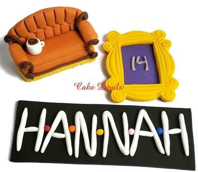 Friends Frame, Letters, and small Couch Cake Toppers