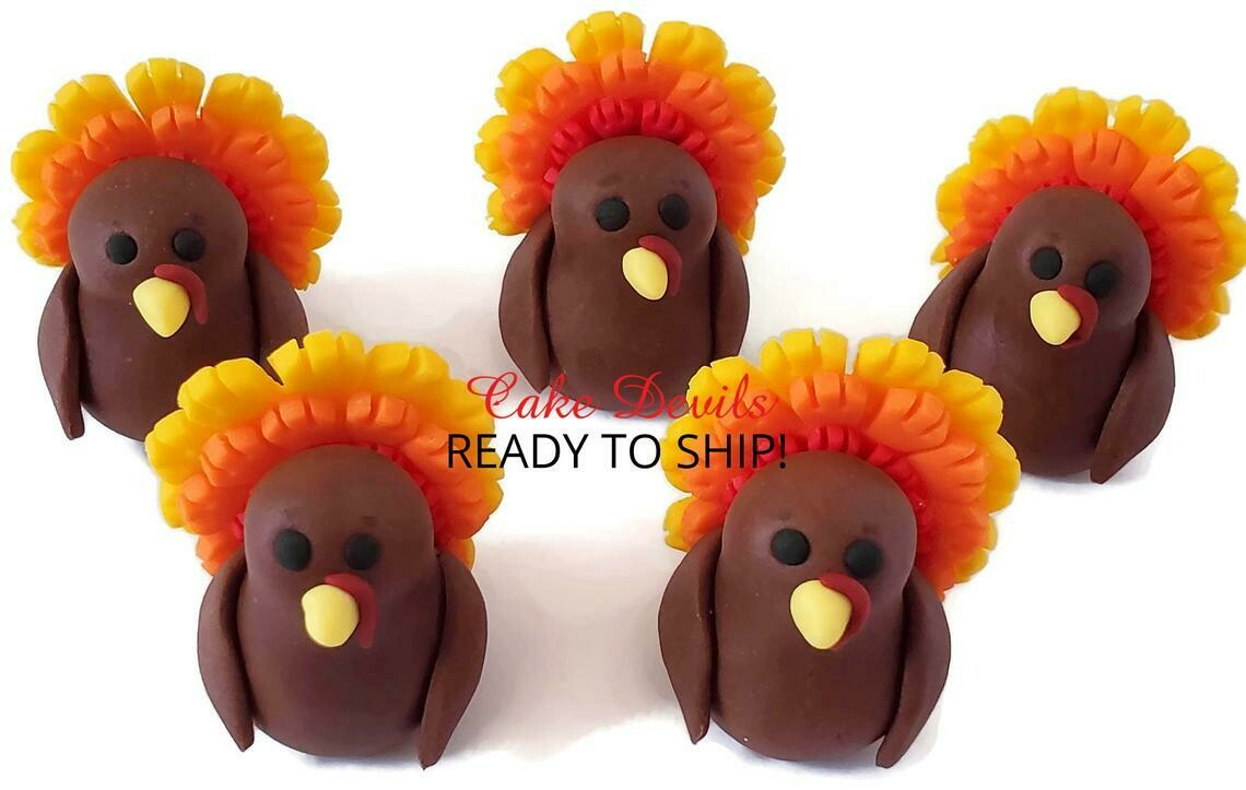 Fondant Thanksgiving Turkey Cake Topper
