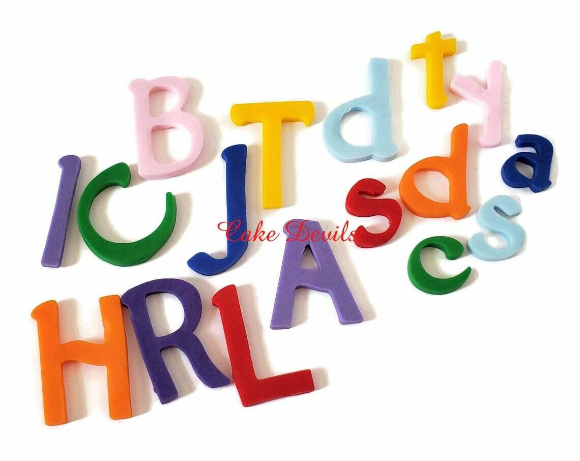 Handmade Edible Fondant Upper and Lower Case Letters Cake Decorations