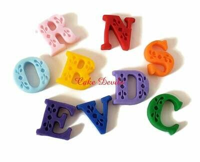 Fondant Letters, Handmade Edible small fondant Letters cake toppers