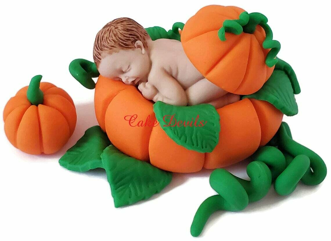 Fondant Baby in a Pumpkin Baby Shower Cake Topper
