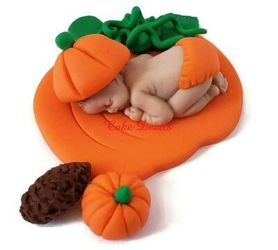 Fondant Pumpkin Baby Shower Cake Topper