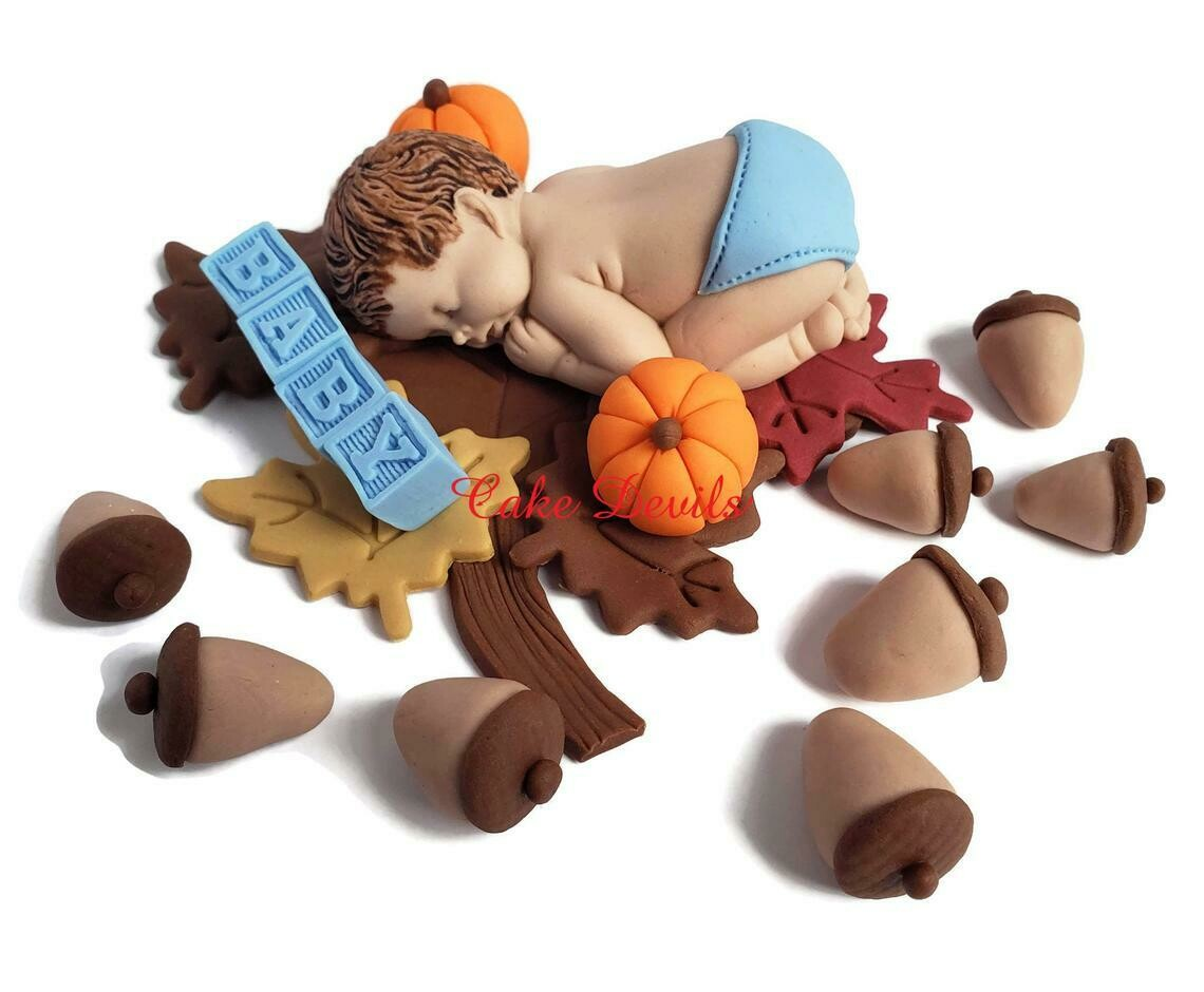 Fall Fondant Baby Shower Cake Topper with Acorns and Pumpkins